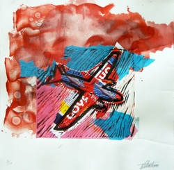 Airplane Series 01, watercolor, print, food labels, 2001