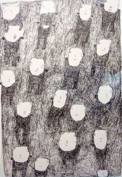 Donald  Mitchell, People in Dark Crowd, marker on paper