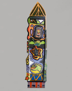 Untitled (Rocket), wood and paint, 90x28 inches, 1990's.
