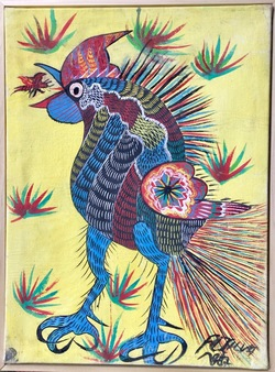Untitled: Rooster and Insect, gouache on canvas, 1977