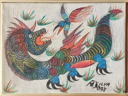 Untitled: Dragon and Bird, gouache on canvas, 1975